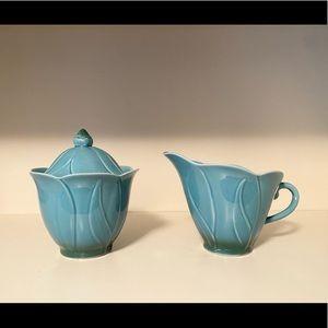 Pale Blue Creamer and Sugar Bowl Set